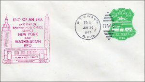 SC-U-582-R, LAST DAY RAILWAY POST OFFICE - New York and Washington 1977 Souvenir