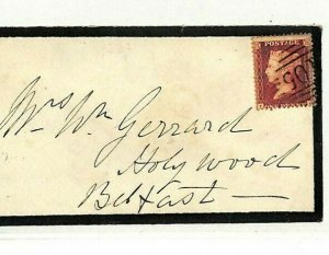 GB IRELAND Cover *Carrick-On-Suir* Numeral *105* 1861 Mourning Envelope NN249
