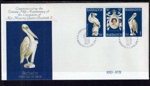 Barbados 474a-474c Queen Elizabeth II Silver Jubilee Fleetwood U/A FDC