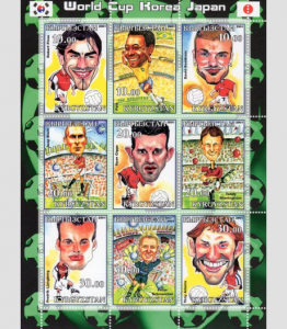 Kyrgyzstan 2001 SOCCER PLAYERS CARICATURE Sheet Perforated Mint (NH)