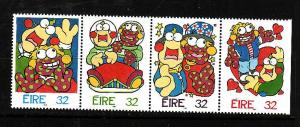 Ireland-Sc#995a-unused strip from souvenir sheet-#992 is hinged, rest NH-Greetin