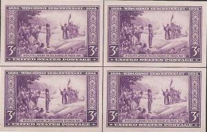 US Stamp - 1935 3c Wisconsin Farley - Center Line Blk of 4 Stamps #755
