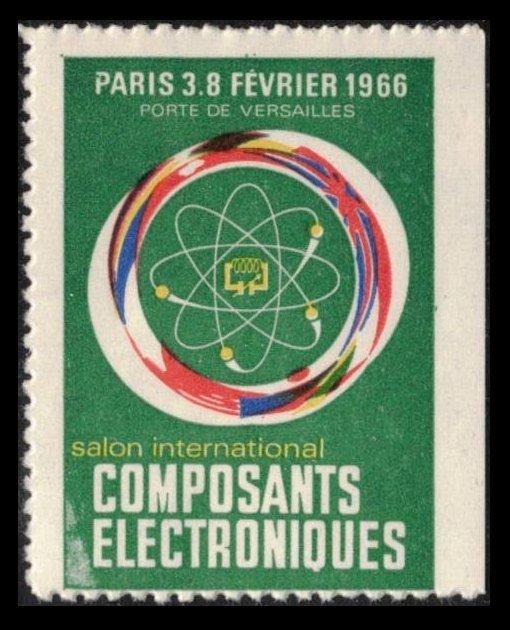 FRANCE PARIS SALON COMPOSANTS ELECTRONIQUE 3 FÉVRIER 66 POSTER STAMP CINDERELLA