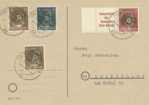 Germany Soviet Zone Saxony 3pf, 4pf, 12pf and 24pf Hitler all with hand-stamp...