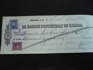 Canada - Revenue - KGVI War Issue Stamp & Revenue Stamp on cheque dated 1946