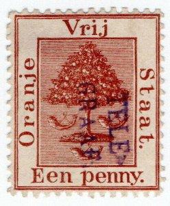 (I.B) Orange Free State Telegraphs : 1d Lake Brown (1885)