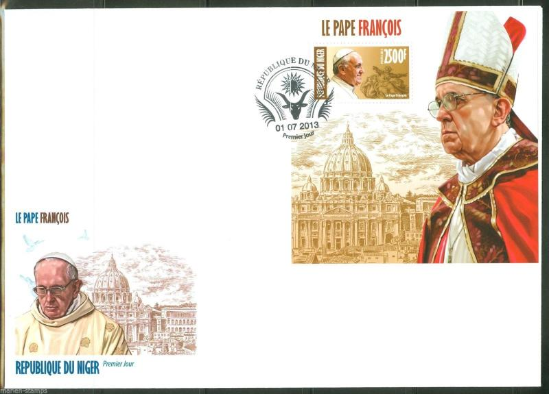 NIGER 2013 POPE FRANCIS  SOUVENIR SHEET   FIRST DAY COVER