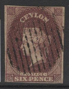 CEYLON SG6a 1859 6d BROWN USED