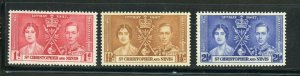 ST. KITTS & NEVIS CORONATION OF GEORGE VI 1937 SC# 76-9 MINT NH AS SHOWN