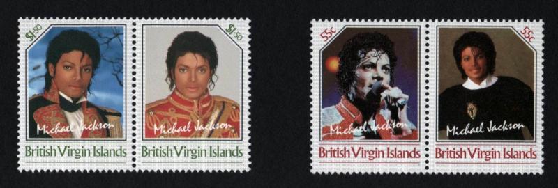 BRITISH VIRGIN ISLANDS 1986  Unissued Michael Jackson 2 se-tenant pairs(4v)