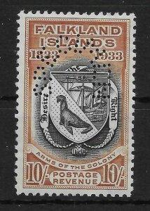 FALKLAND ISLANDS SG137s 1933 CENTENARY 10/= BLACK & CHESTNUT SPECIMEN MNH