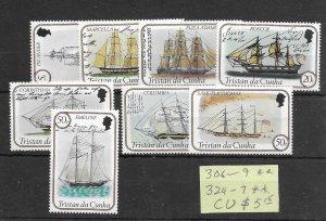 Tristan da Cunha #306-309, 324-327 MNH - Set - CAT VALUE $5.15