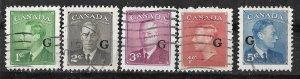 Canada # O16-20  King George VI G overprints (5) VF Used