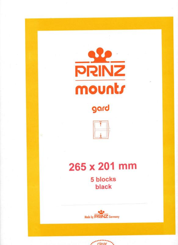 Prinz Scott Stamp Mount 201/265 BLACK Background Pack of 5