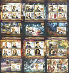 XZ0090-95 2015 CHAD CELEBRITIES SCIENCE TECHNOLOGY GREAT SCIENTISTS 6KB+6BL MNH