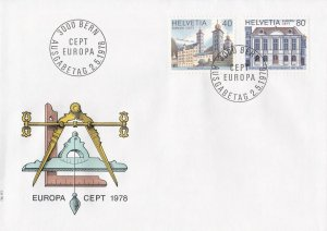 SW200) Switzerland 1978 EUROPA Stamps - Monuments FDC.