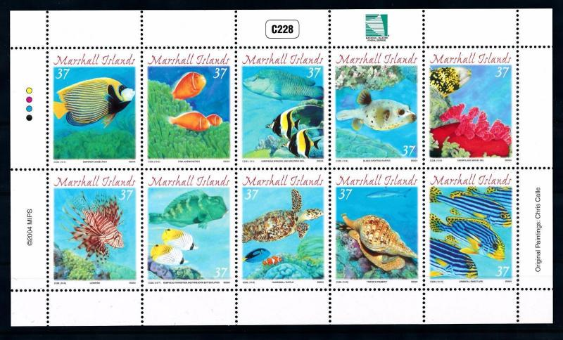 [42337] Marshall Islands 2004 Marine Life Fish Turtle MNH Sheet