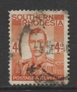 Southern Rhodesia- Scott 45 - KGVI - Definitive -1937 -FU- Single 4d Stamp
