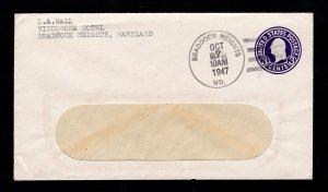 COVER 4-BAR CANCEL ON SCOTT #U436 BRADDOCK HEIGHTS MD 1947