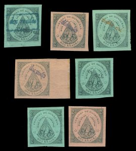 HONDURAS 1865-1877 Coat of Arms Sc# 1-2,5,13,23(2),24 mint MH group of classics