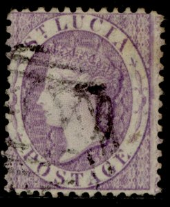 ST. LUCIA QV SG13, (6d) violet, FINE USED. Cat £42.