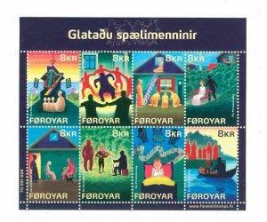 Faroe Islands.1 Souv. Sheet. 2009 Mnh. The Lost Musicians. 8 x 8 Kr