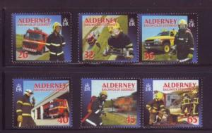 Alderney Sc 239-4 2004 Fire Services stamp set mint NH