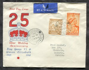 p390 - BARBADOS 1949 Airmail Cover to Canada. Silver Wedding FDC Cachet. Not FDC