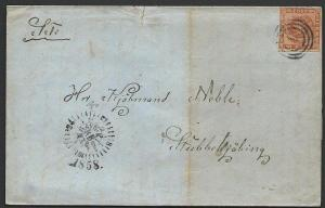 DENMARK 1858 4s imperf on folded cover Copenhagen 'clock' pmk..............49255