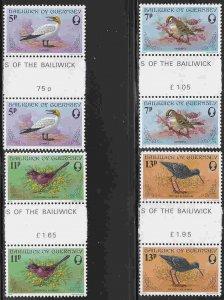 Guernsey #165-68 Gutter Pairs F-VF Mint NH ** Birds