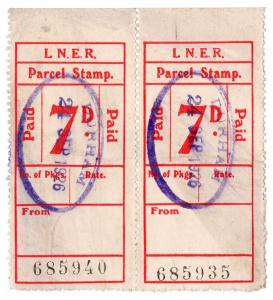 (I.B) London & North Eastern Railway : Parcel Stamp 7d (Durham)