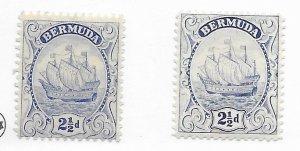 Bermuda #87 & 87A MH - Stamp - CAT VALUE $5.35
