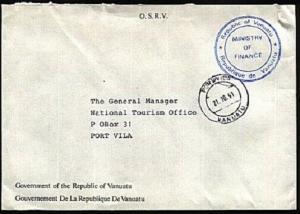 VANUATU 1991 Local official cover Port Vila cds - Ministry of Finance......93038