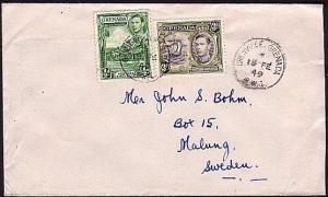 GRENADA 1949 cover to Sweden - GRENVILLE village cds.......................34476