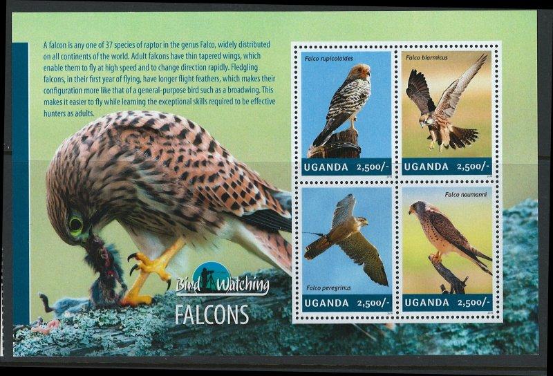 Uganda Scott 2113 MNH! Falcons! Sheet of 4!