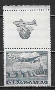 Czechoslovakia C25 24k Plane Tab single MNH (z1)