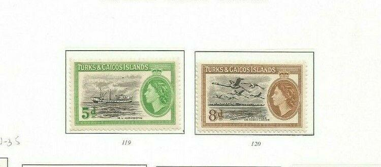 TURKS AND CAICOS 1955 SCOTT 119-20 MH