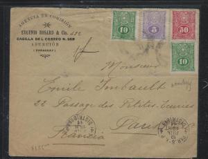 PARAGUAY (P2309B) LETTER 5C+10CX2+50C AD COVER TO PARIS