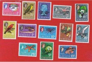 Tristan da Cunha #55-67  MNH OG  St. Helena Overprints