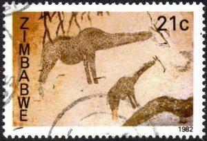 Zimbabwe 449 - Used - 21c Rock Paintings / Giraffes (1982) (cv $0.40)
