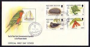 Pitcairn Is., Scott cat. 371-374. Hawkmoth, Bird, Flower & Coral. First day cvr.