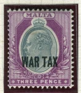 MALTA; 1917-18 early WAR TAX Optd. issue fine Mint hinged Shade of 3d. value