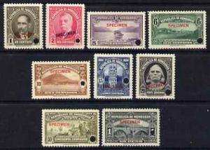 Honduras 1931 Pictorial set of 9 optd SPECIMEN each with ...
