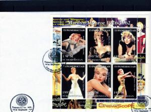 Turkmenistan 1997 Marilyn Monroe Sheet Perforated in official FDC