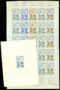 EDW1949SELL : SOMALI COAST 1962 Sc#292 Animals Scarce Trial color full sht of 25