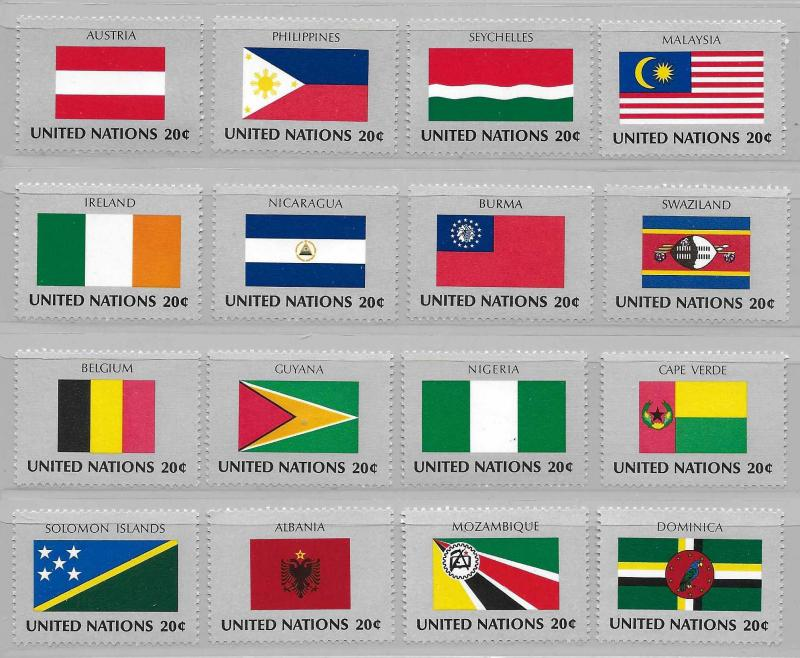 United Nations 374-89 Flags set MNH