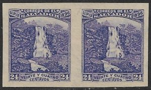 EL SALVADOR 1896 24c WATERFALLS Sc 154 WATERMARKED IMPERF PAIR Unused No Gum
