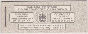 Canada USC #BK44 Bilingual - Panes of 3 in Complete Booklet - VF-NH