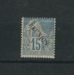 Reunion 22 Y&T 22 15c Blue MVLH Fine 1891 SCV $57.50