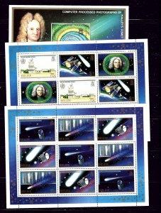 Belize 812-14 MNH 1986 Halleys Comet 2 sheets of 9 and souvenir sheet